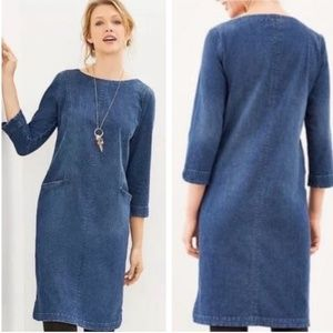 J. Jill Denim Shift 3/4 sleeve Dress